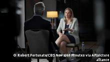 In this Sept. 16, 2021, photo provided by CBS, Facebook whistleblower Frances Haugen talks with CBS' Scott Pelley on 60 Minutes, in an episode that aired Sunday, Oct. 3. (Robert Fortunato/CBS News/60 Minutes via AP)