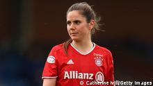 KINGSTON UPON THAMES, ENGLAND - MAY 02: Sarah Zadrazil of FC Bayern Munich during the Second Leg of the UEFA Women's Champions League Semi Final match between Chelsea FC and Bayern Munich at The Cherry Red Records Stadium on May 02, 2021 in Kingston upon Thames, England. Sporting stadiums around the UK remain under strict restrictions due to the Coronavirus Pandemic as Government social distancing laws prohibit fans inside venues resulting in games being played behind closed doors. (Photo by Catherine Ivill/Getty Images)