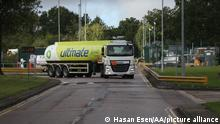 LONDON, ENGLAND - OCTOBER 04: A fuel truck leaves Buncefield oil storage to deliver fuel to petrol stations in London, England on October 04, 2021. Hasan Esen / Anadolu Agency