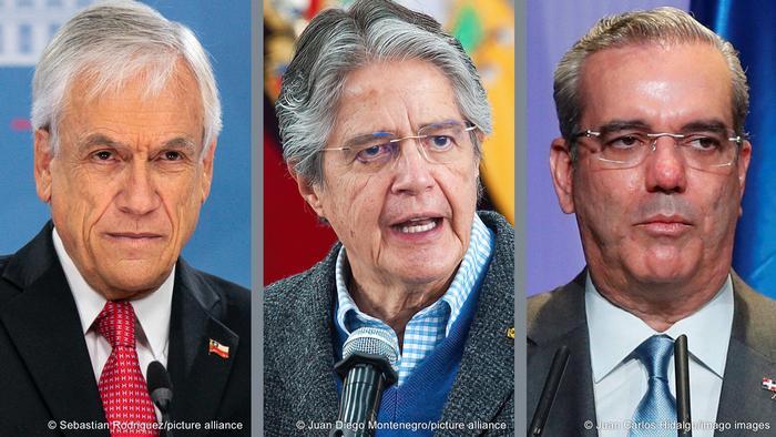 Sebastian Pinera (l.), Guillermo Lasso, Luis Abinader