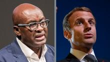 Bild 1: Der kamerunische Historiker und Philosoph Achille Mbembe spricht am 25.05.2017 in Hamburg im Thalia Theater. Die 15. Ausgabe des Festivals «Theater der Welt» ist am Donnerstag eröffnet worden. Foto: Daniel Bockwoldt/dpa Bild2: President Emmanuel Macron speaks to journalists in the courtyard of the Elysee Palace, in Paris, France on September 30 2021, prior to host a dinner as part of the closing ceremony of the Africa2020 season, which presented the views of the civil society from the African continent and its recent diaspora in different sectors of activity. The Season 2020 focused on innovation in the arts, sciences, technology, entrepreneurship and the economy. Photo by Eric Tschaen/Pool/ABACAPRESS.COM