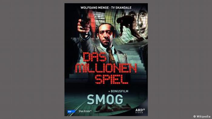 Film poster 'Das Millionenspiel' written in red with man aiming with a gun.