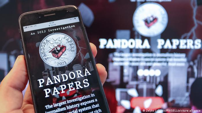 Pandora Papers website seen on a smartphone