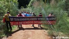 Demonstration - Angehörigen der in der Colonia Dignidad verschwundenen politischen Gefangenen demonstrierten und forderten Schluss mit dem Schweigepakt . Villa Baviera, Colonia Dignidad. Parral, Chile. 26.09.21