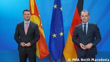 Berlin, 04.10.2021, Außenminister von Deutschland und Nordmazedonien, Heiko Maas und Bujar Osmani. Rechte: MFA North Macedonia