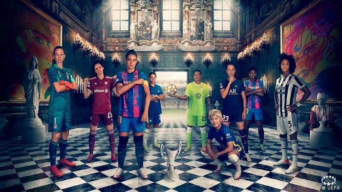 An art project showing female footballers