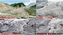 TO GO WITH 'CLIMATE-WARMING-UN-COP21-INDIA', FOCUS BY TRUDY HARRIS In this composite handout image released by the University of Kashmir on October 29, 2015, the rate of retreat at the snout of the Kolahoi Glacier in Indian-administered Kashmir is shown. Its Himalayan glaciers are melting fast, its agricultural heartland is drying up and its capital is choking on the world's filthiest air. Yet India's government is one of the few major economies refusing to pledge to cut greenhouse gas emissions, ahead of a major climate conference in Paris. Global warming is already changing the face of rapidly developing India, a nation forecast to become the world's most populous, overtaking China, in less than a decade. AFP PHOTO / Shakil Ahmed Romshoo / University of Kashmir - RESTRICTED TO EDITORIAL USE - MANDATORY CREDIT AFP PHOTO / Shakil Ahmed Romshoo / University of Kashmir - NO MARKETING - NO ADVERTISING - CAMPAIGNS DISTRIBUTED AS A SERVICE TO CLIENTS - (Photo by University of Kashmir / University of Kashmir / AFP)