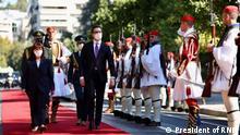 Athen, 05.10.2021 - Präsident Nordmazedoniens Stevo Pendarovski und die Griechische Präsidentin Katerina Sakellaropoulou in Athen. Rechte: President of RNM