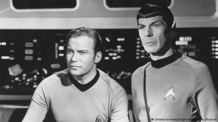 William Shatner as Captain James T Kirk and Leonard Nimoy as Mr. Spock aboard the Starship Enterprise