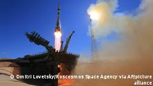 In this handout photo released by Roscosmos Space Agency, the Soyuz-2.1a rocket booster with Soyuz MS-19 space ship carrying actress Yulia Peresild, film director Klim Shipenko and cosmonaut Anton Shkaplerov to the International Space Station, ISS, blasts off at the Russian leased Baikonur cosmodrome, Kazakhstan, Tuesday, Oct. 5, 2021. Actress Yulia Peresild and film director Klim Shipenko blasted off Tuesday for the International Space Station in a Russian Soyuz spacecraft together with cosmonaut Anton Shkaplerov, a veteran of three space missions, to make a feature film in orbit. (Roscosmos Space Agency via AP)