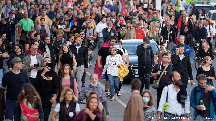 Demonstrators march during a protest against vaccinations and coronavirus measures in Ljubljana, Slovenia