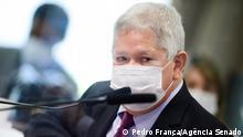 Teilhaber des Unternehmens VTCLog Raimundo Nonato Brasil in einer Aussage vor Senatoren des CPI da Pandemia Datum: 05/10/21 Ort: Brasília, Brasilien