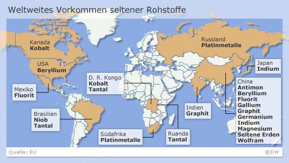 Auf einer Karte sind die Vorkommen von seltenen Rohstoffen gekennzeichnet (DW-Grafik)