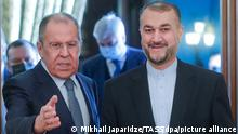 MOSCOW, RUSSIA - OCTOBER 6, 2021: Russia's Foreign Minister Sergei Lavrov (L) and Iran's Foreign Minister Hossein Amir-Abdollahian meet for talks at the Russian Foreign Ministry's Reception House in Spiridonovka Street. Mikhail Japaridze/TASS