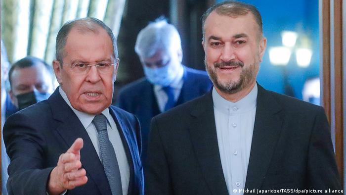 Russia's Foreign Minister Sergey Lavrov (L) and Iran's Foreign Minister Hossein Amir-Abdollahian meet for talks in Moscow