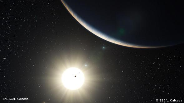 An artist's rendering of the planetary system surrounding HD 10180