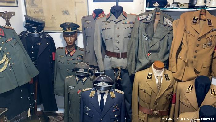 Nazi uniforms pictured at the home of an alleged pedophile in Rio de Janeiro, Brazil