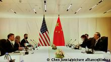 SWITZERLAND-ZURICH-CHINA-YANG JIECHI-U.S.-NATIONAL SECURITY ADVISOR-MEETING (211006) -- ZURICH, Oct. 6, 2021 (Xinhua) -- Yang Jiechi (1st R), a member of the Political Bureau of the Communist Party of China (CPC) Central Committee and director of the Office of the Foreign Affairs Commission of the CPC Central Committee, meets with U.S. National Security Advisor Jake Sullivan (1st L) in Zurich, Switzerland, on Oct. 6, 2021. (Xinhua/Chen Junxia)