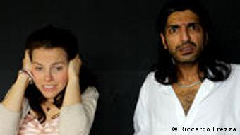 Daniele Janess and Dharmander Singh rehearse the play LOVEPUKE, directed by Fingal Pollock, at the English Theatre Berlin