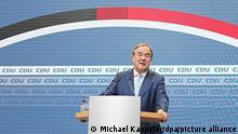 Armin Laschet, CDU-Bundesvorsitzender und Ministerpräsident von Nordrhein-Westfalen, gibt ein Pressestatement zum Fortgang der Sondierungsgespräche im Konrad-Adenauer-Haus. +++ dpa-Bildfunk +++