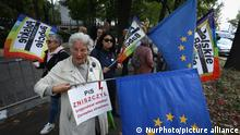 A group of women known as the Angry Grandmothers is seen protesting in front of the Constitutional Tribunal in Warsaw, Poland on September 22, 2021. On Wednesday the Tribunal was set to rule if EU law has primacy of the Polish constitution. The matter concerns a ruling of the Court of Justice of the European Union demanding Poland dismantle a disciplinary chamber which is part of the Supreme Court and is judged by the EU as being a political tool. Today's hearing will be resumed on September 30 further prolonging one of the most contentious issues between Poland and the EU. (Photo by STR/NurPhoto)