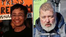 8.10.2021. Bildkombo, die Portraits der beinden Nobelpreis-Gewinner Maria Ressa und Dmitry Muratov zeigt