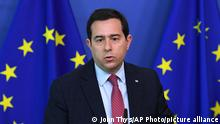 Greek Minister for Migration and Asylum Notis Mitarachi speaks during a media conference with EU commissioner for Home Affairs Ylva Johansson at EU headquarters in Brussels, Wednesday, June 9, 2021. (John Thys, Pool via AP)