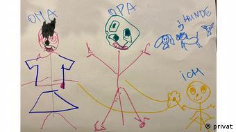 Desenho feito por Anna, 4 anos, que mora na Alemanha e tem avós na Rússia vacinados com a Sputnik