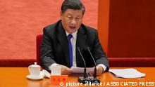 Chinese President Xi Jinping delivers a speech at an event commemorating the 110th anniversary of Xinhai Revolution at the Great Hall of the People in Beijing, Saturday, Oct. 9, 2021. (AP Photo/Andy Wong)