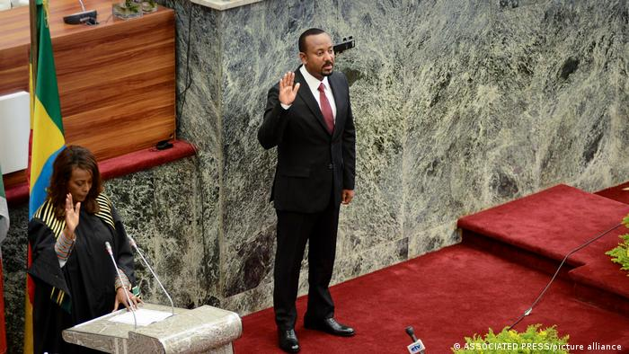 Ethiopia's Prime Minister Abiy Ahmed during his swearing in ceremony