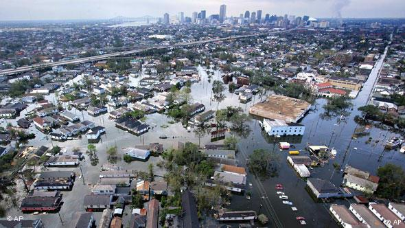 Floodwaters from Hurricane Katrina cover a portion of New Orleans, La., in this Aug. 30, 2005