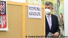 Czech Prime Minister and founding leader of ANO Andrej Babis votes during elections to the Chamber of Deputies of the Parliament of the Czech Republic, in Lovosice, Czech Republic, on October 8, 2021. (CTK Photo/Ondrej Deml)