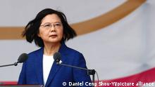 October 10, 2021, Taipei, Taipei, Taiwan: Taiwanese President Tsai Ing-wen delivers a speech during the Double-Tenth National Day Celebration Ceremony, following Chinese President Xi Jinping's vow to unify Taiwan by peaceful means. The self ruled island has been facing intensifying military threats from China including record number of fighter jets cruising around Taiwan, whilst building better relations with the US, Australia, Japan and European countries including Lithuania, Poland and the Czech Republic. (Credit Image: © Daniel Ceng Shou-Yi/ZUMA Press Wire