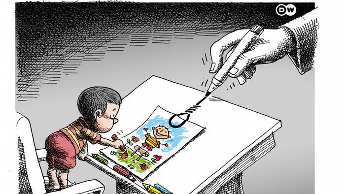 کاریکاتور مانا نیستانی برای دویچه وله با موضوع مبارزه علیه حکم اعدام