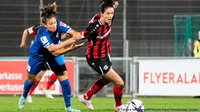 SC Sand's Marina Georgieva was sent off for this foul on Leverkusen's Milena Nikolic
