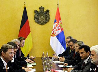 Serbian Prime Minister, Mirko Cvetkovic, second right, and German Foreign Minister Guido Westerwelle, left, hold talks in Belgrade, Serbia