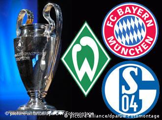 The Champions League trophy with the badges of Bayern Munich, Werder Bremen and Schalke 04