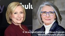 """This combination photo shows former secretary of state Hillary Clinton at the premiere of the Hulu documentary Hillary in New York on March 4, 2020, left, and a portrait of author Louise Penny. Clinton is teaming up with Penny on the novel """"State of Terror,"""" out Oct. 12, 2021. (Photo by Evan Agostini/Invision/AP, left, and Jean-Francois Bérubé via AP)"""