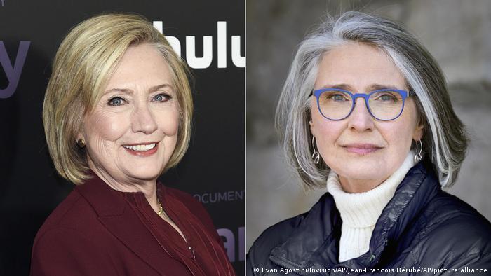 Hillary Clinton (links) und Louise Penny im Splitscreen