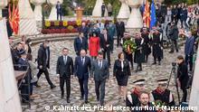 Prilep, Nordmazedonien, 11.10.2021+++80 Jahre seit Beginn des Aufstandes gegen den Faschismus in Mazedonien. Regierungsdelegation unter Leitung von Premierminister Zoran Zaev am Totendenkmal.