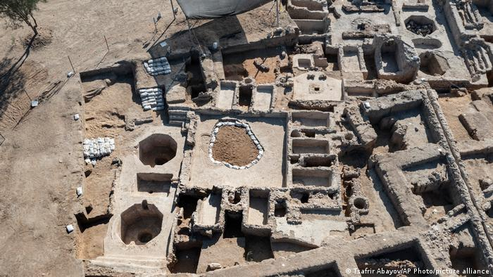 Aerial view of ancient wine factory unearthed in Yavneh, Israel