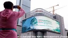 A billboard to the UN climate conference in Kunming