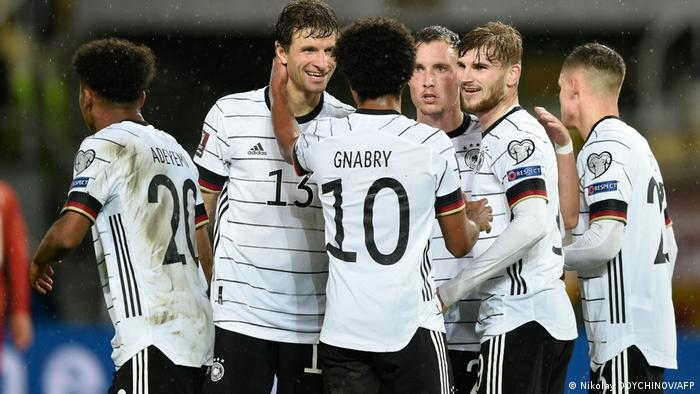 Germany celebrate victory in North Macedonia.