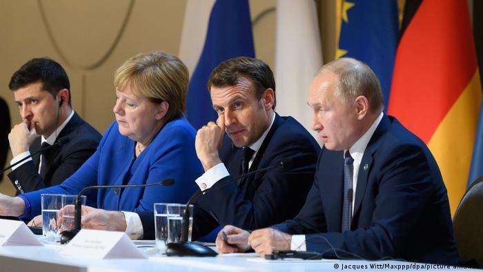 Frankreich PK Wolodymyr Selenskyj, Angela Merkel, Emmanuel Macron und Wladimir Putin