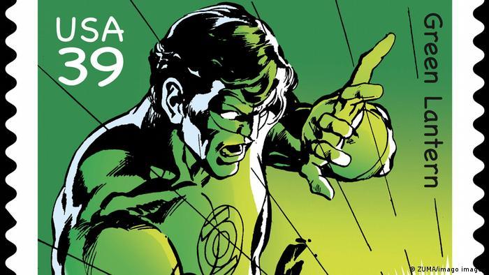 Супергерой Зеленый Фонарь на почтовой марке