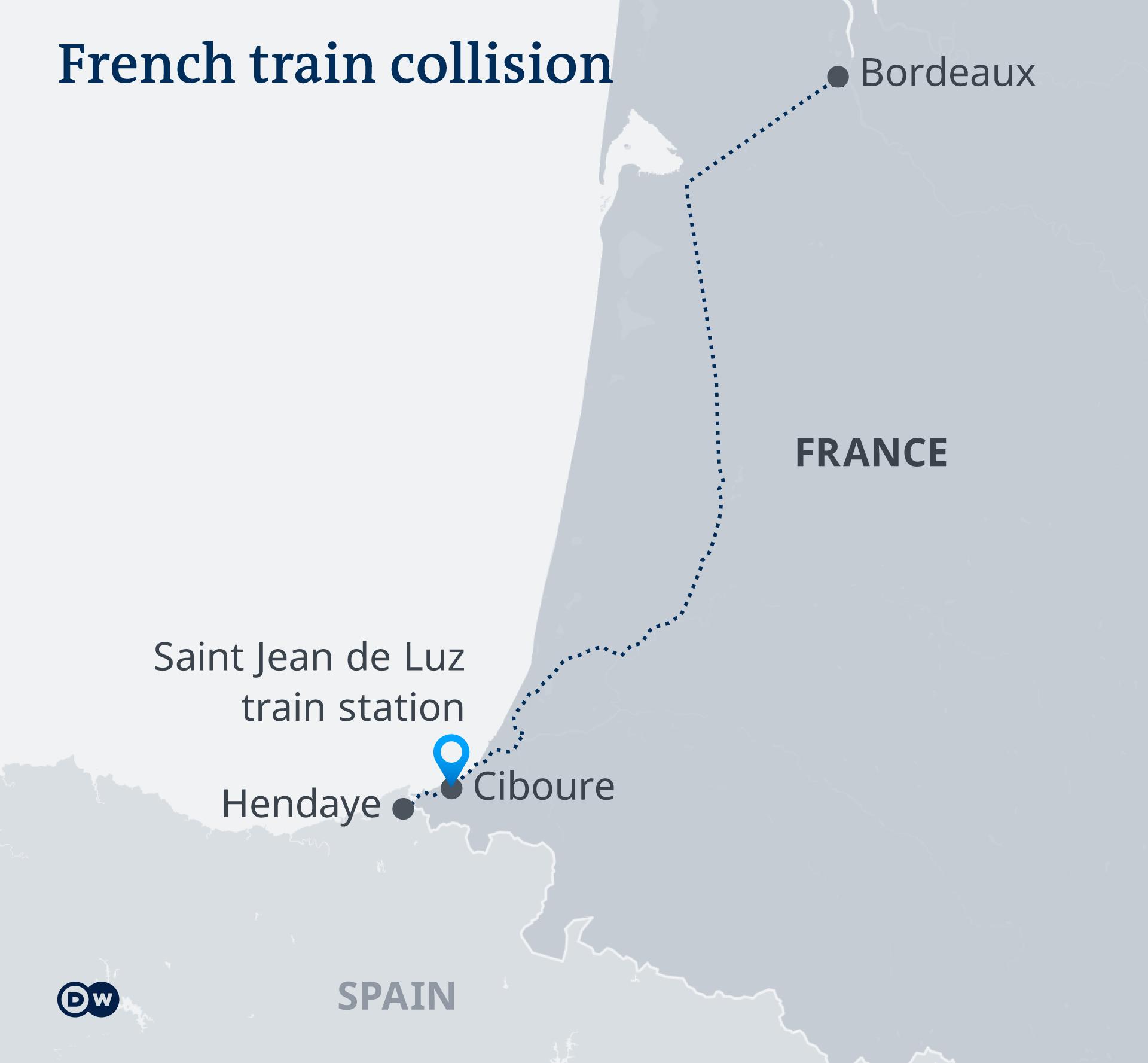 Infografik Karte Francouzská srážka vlaků EN