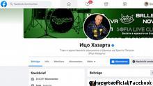 Facebook-Seite des bulgarischen Musikers Hristo Petrov, bekannt als Itzo Hasarta. https://www.facebook.com/hazartaofficial