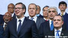 Serbia Russia 6669841 11.10.2021 In this handout photo released by the Russian Foreign Ministry, Serbian President Aleksandar Vucic, foregroud left, Russian Foreign Minister Sergey Lavrov, centre, and Azerbaijani Foreign Minister Jeyhun Bayramov pose for a photo before the opening ceremony of the High-level International Conference on the occasion of the 60th anniversary of the Non-Aligned Movement, in Belgrade, Serbia. Editorial use only, no archive, no commercial use. Russian Foreign Ministry Belgrade Serbia PUBLICATIONxINxGERxSUIxAUTxONLY Copyright: xx