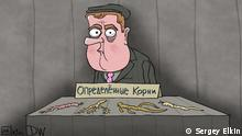 Karikatur - ehemaliger russischer Präsident Dmitrij Medwedew als Verkäufer, der mit bestimmten Wurzeln handelt.