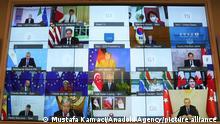 ISTANBUL, TURKEY - OCTOBER 12: Turkish President Recep Tayyip Erdogan attends G20 extraordinary meeting on Afghanistan via video conference, at Vahdettin Mansion, in Istanbul, Turkey on October 12, 2021. Mustafa Kamaci / Anadolu Agency